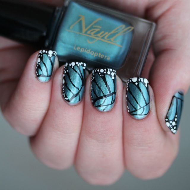 Freehand Butterfly Nail Art With My Custom Nayll Polish Lepidoptera