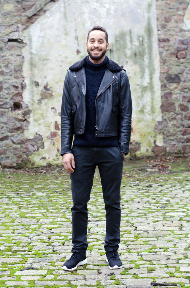 Leather jacket: ASOS - Jumper: TK Maxx - Trousers: Banana Republic - Nike Roshe  One Trainers: JD Sports (c/o) His newest pair are the Nike Roshe One from  JD ...