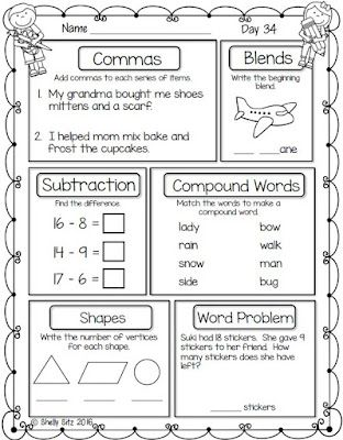 First Grade Morning Work | Smiling and Shining in Second Grade ...