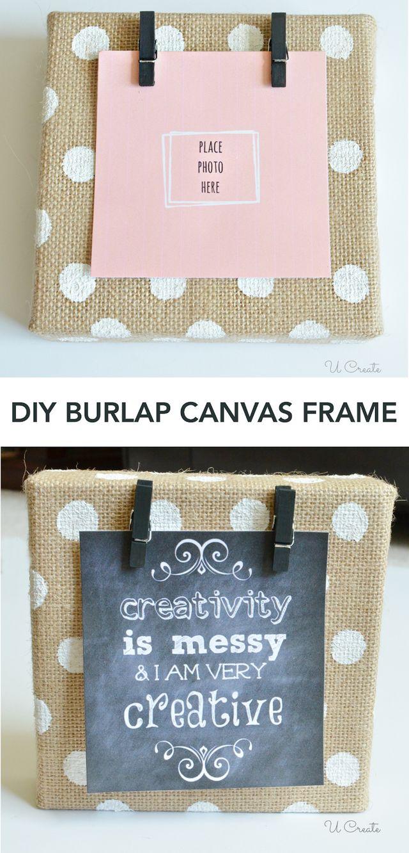 Diy burlap canvas frame with polkadots u create for Save on crafts burlap