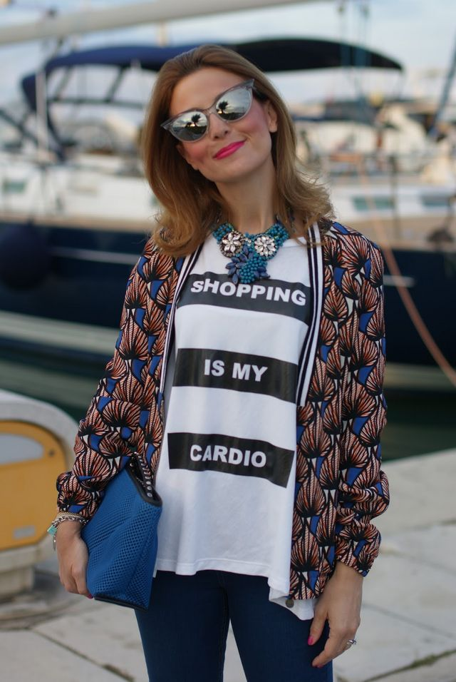 Shopping is my cardio oversize t-shirt and Zara jeggings bbf9399becb