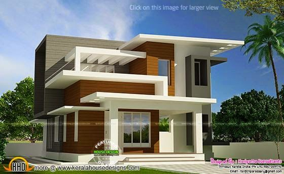 Free plan of contemporary home kerala home design for Home outer colour design