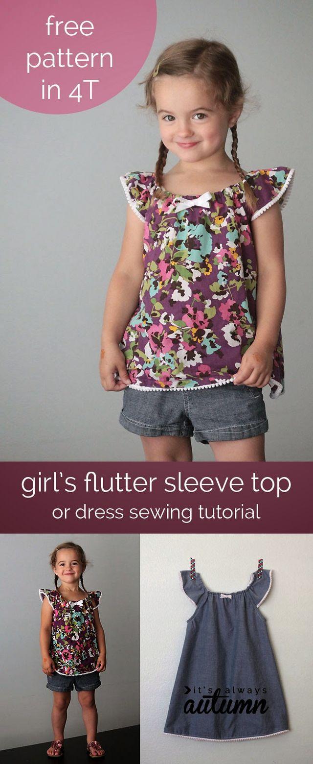 Patrón gratis y tutorial: vestido o blusa niña talla 4 | contra la ...