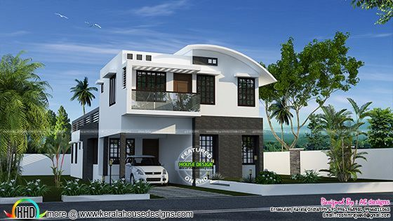 232 Sq M Curved Roof Mix House Plan Kerala Home Design