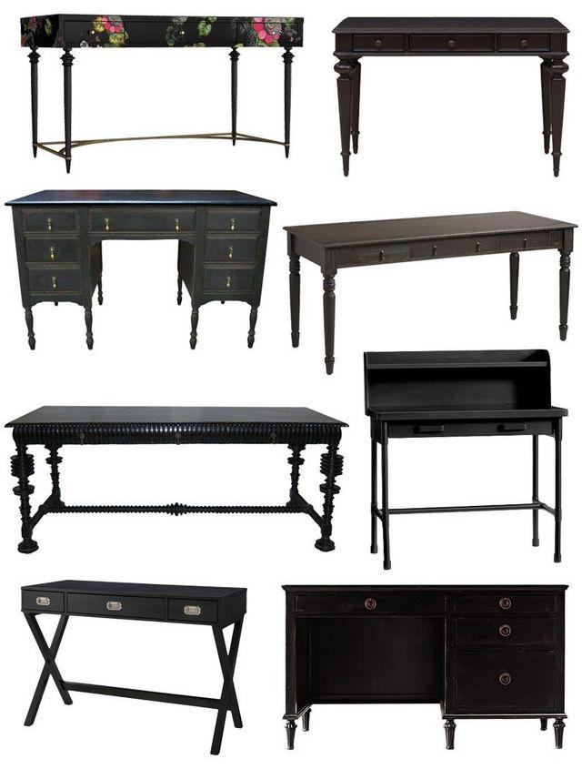 Birch Lane Vintage Painted Desk Chairish Rubbed Black Quade World Market Noir Portugese Candelabra Knox Metal With Hutch