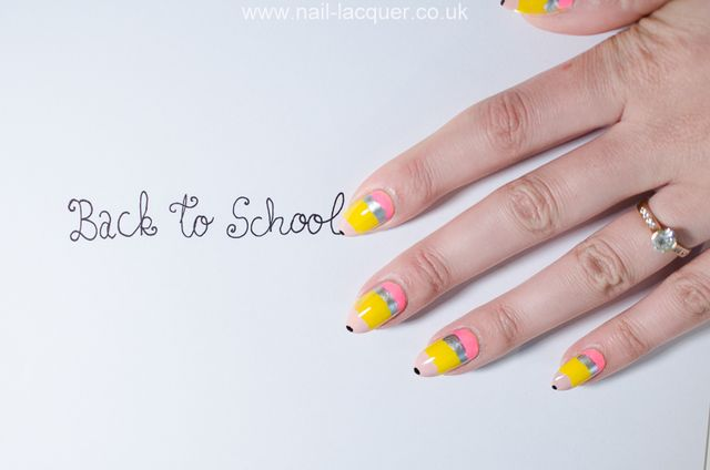 Pencil nail art tutorial nail lacquer uk bloglovin this could be a fun design to wear if you are allowed to wear nail polish at school or if you have children who are attending prinsesfo Gallery