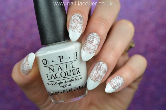 I Then Stamped The Lace Design On My Nails Using Mundo De Unas White Stamping Polish And Hehe018 Plate