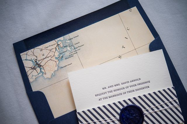 Preppy and Nautical Gold Foil Wedding Invitations – Vintage Nautical Wedding Invitations