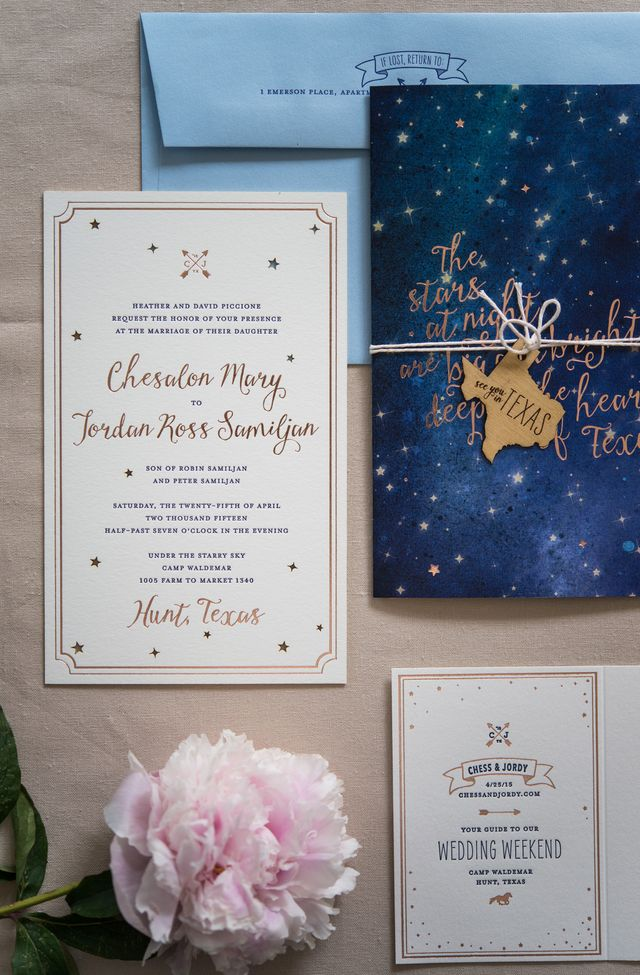 Rose gold foil night sky wedding invitations oh so beautiful paper from samantha and whitney this custom wedding invitation suite was designed for a sweet couple getting married deep in the heart of texas solutioingenieria Images