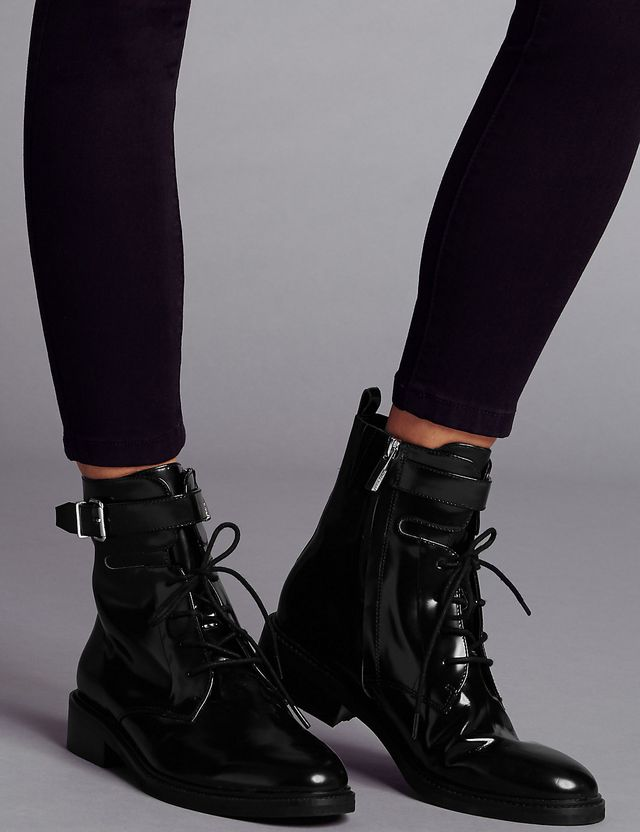 5093aec75440 Leather Lace Up Ankle Boots £85