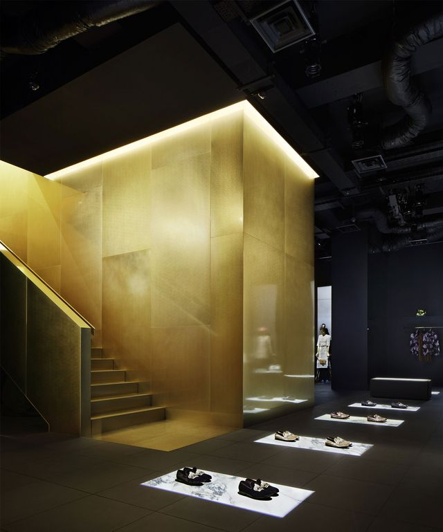 The Design Team At External Reference Chose Gold As Primarily Colour For Interior Creating Impression That Everything In Shop Is Made Of