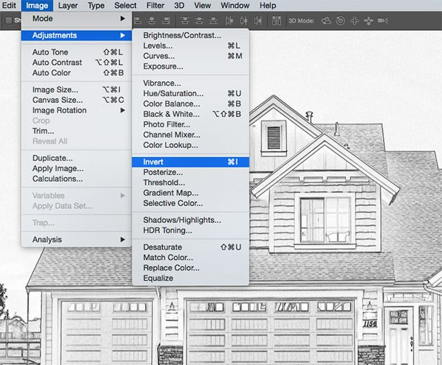 How to create a blueprint effect in adobe photoshop blog blueprints are mostly recognised as a light coloured drawing against a dark blue background so go to image adjustments invert to switch the colours malvernweather Gallery