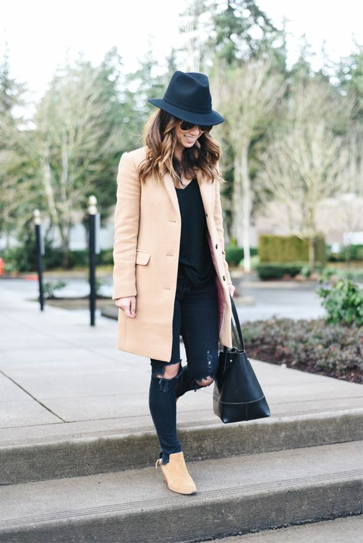 62ad8f18263 J.Crew Factory topcoat (similar), AG jeans, Rag & Bone booties (sold out,  similar), Bailey for J.Crew fedora, J.Crew tote, Ray-Ban aviators