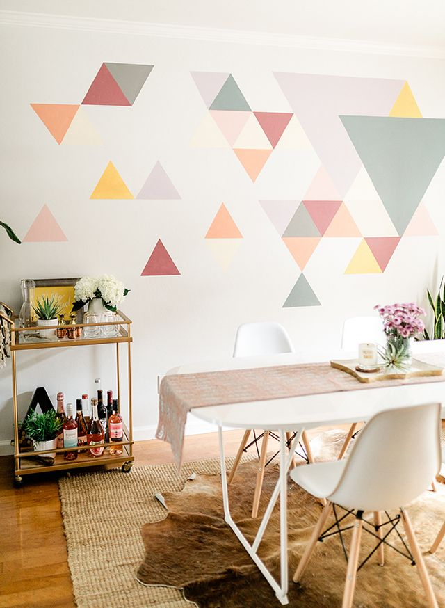 A Diy Geometric Wall Mural With Behr Paint