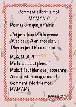 Poème Pour Maman Gourmande La Classe De Luccia Bloglovin