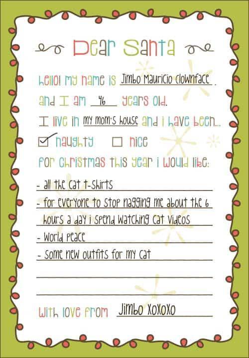 Doc450600 Christmas List Template for Kids christmas list – Christmas List Format