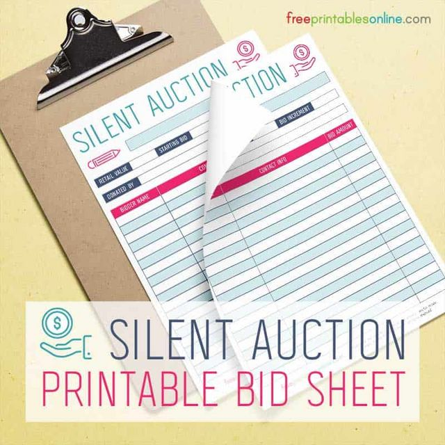 the color scheme of the auction bidding sheet is pink and blue and it suitable for any silent auction event