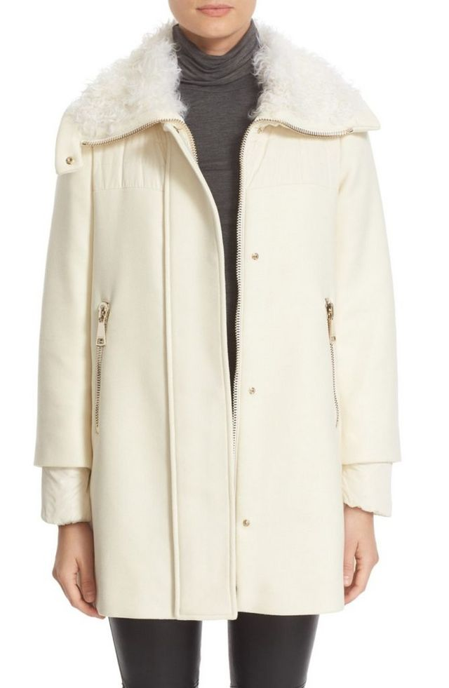 fdfb225151a Moncler is known for their warm coats and I love that this Calipso Wool  Blend Jacket with Genuine Kalgan Fur Trim Coat is a chic alternative to the  ubiquous ...
