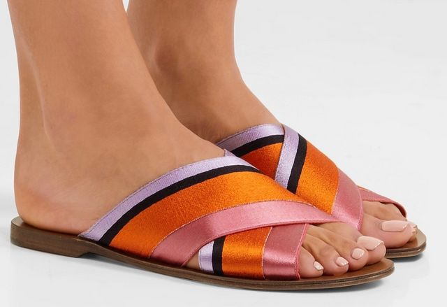 cfb2126e9bd I love all the colors in these striped Satin Slides. They are also  available in a navy canvas stripe.