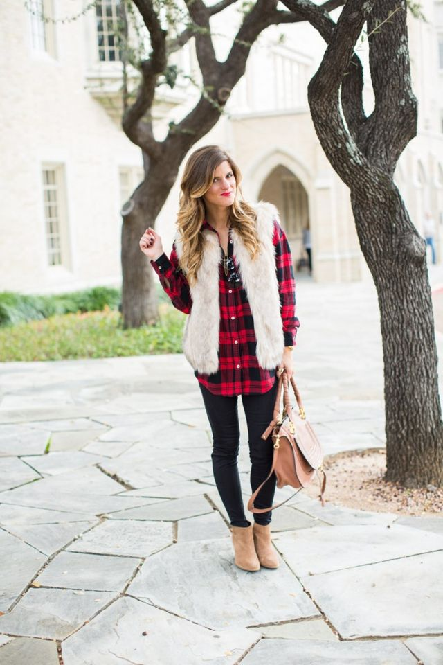 68a03abaa5 Hands down, a faux fur vest and plaid shirt is the number one fall combo  that I look forward to sporting every season – both separately and together.