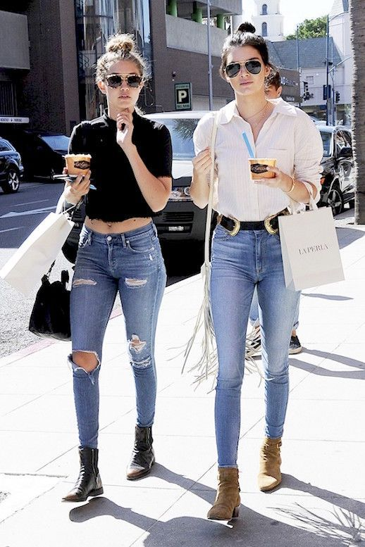 59ce367d05e What Kendall Jenner and Gigi Hadid Wear To Get Frozen Yogurt. Pin