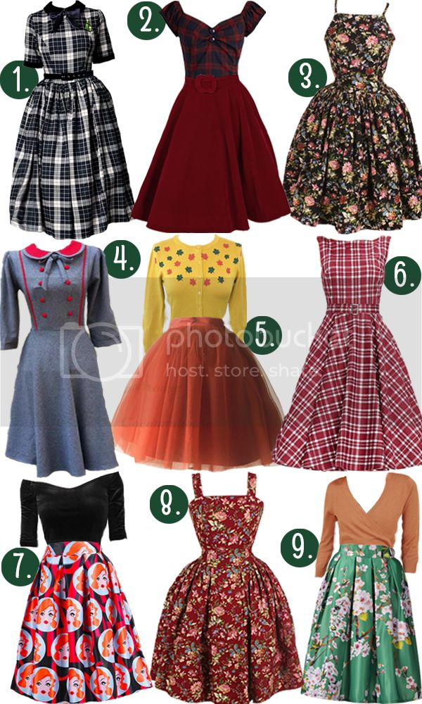 f9159f5073b 1) Christina Swing Dress in Sherwood Check 2) Tickle Me Picnic Top in Plaid  Make your Presence Throne Skirt in Ruby 3) Rosalie Dress in Black  Fallflower ...