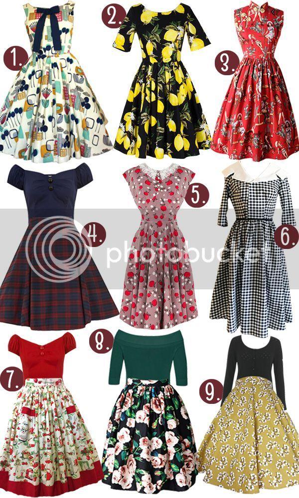 f42d647f962 1) Waffle Cone Swing Dress 2) 3 4 Sleeve Lemon Dress 3) Mandarin Collar  Western Lady Dress 4) Navy Blue Pinup Top Red and Navy Tartan Skirt 5)  Caramel Apple ...