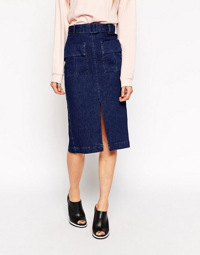 317e434461 In a lighter shade of denim - slightly shorter perhaps but the model is 5ft  8 so it should hopefully sit just below the knee on most. Love this look -  the ...
