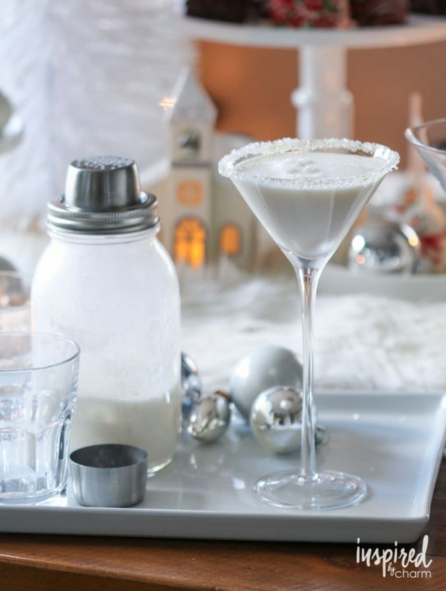 for a white christmas martini garnished with a sparkly sugared rim this cocktail is like an adults only white chocolate milkshake in a martini glass - White Christmas Martini