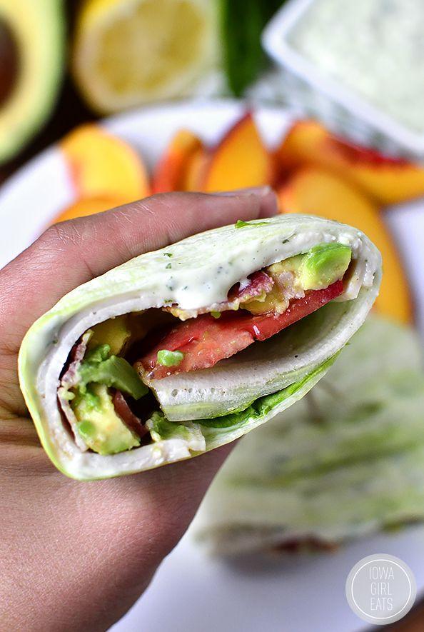 California Turkey and Bacon Lettuce Wraps with Basil-Mayo ...