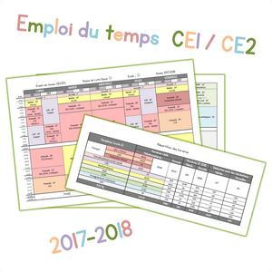 Lutin Bazar Calendrier 2020 2019.Mon Emploi Du Temps Ce1 Ce2 Pour La Rentree 2017 Chez
