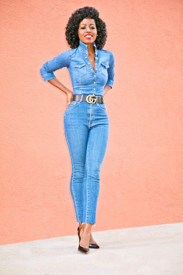 6bcbf4dd754 Fitted Denim Shirt + High Waist Jeans
