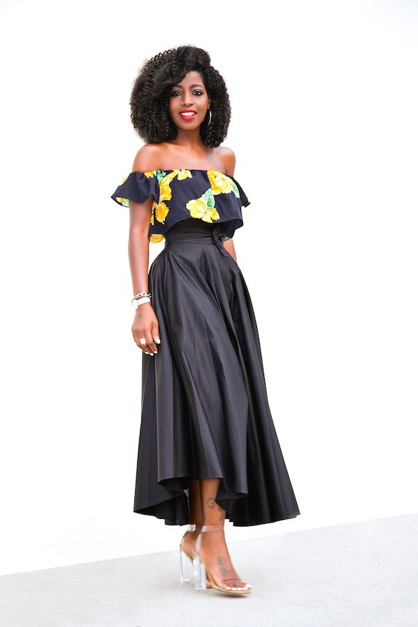 c81b07f23e8 Floral Off Shoulder Crop + Belted Swing Midi Skirt | Style Pantry ...