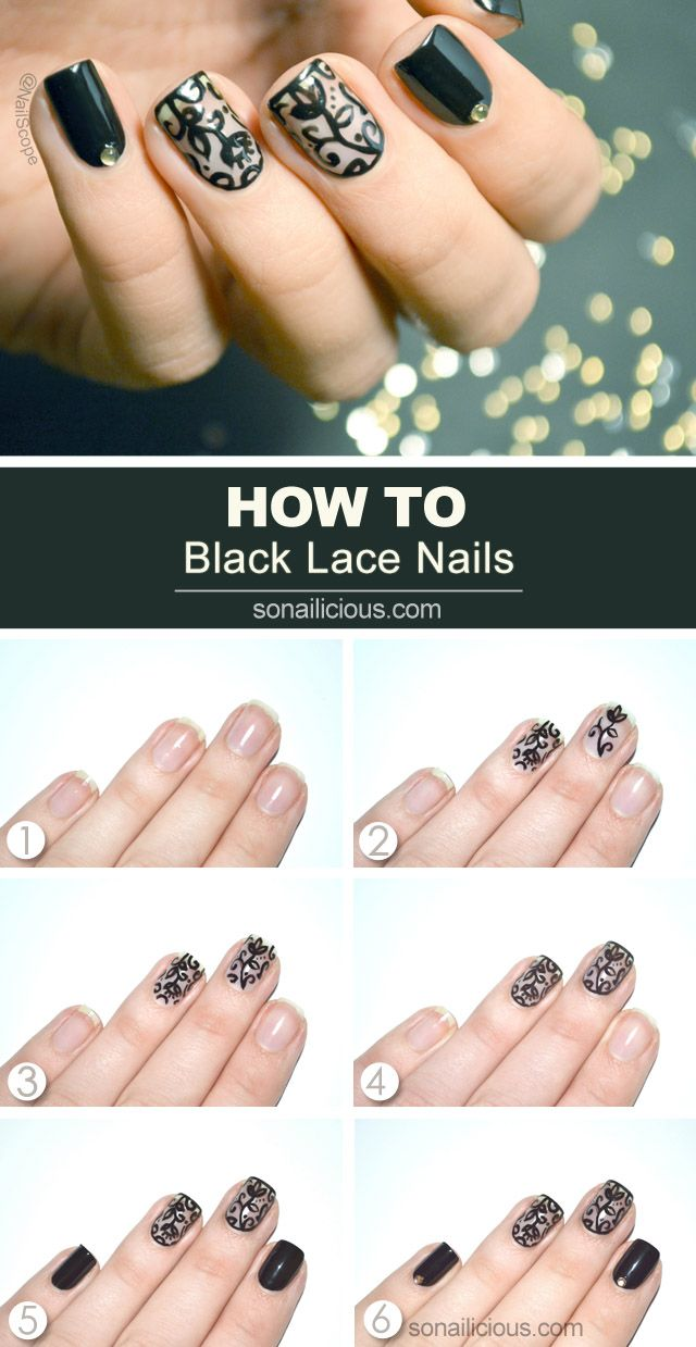 Black lace nail art tutorial sonailicious bloglovin how to prinsesfo Image collections