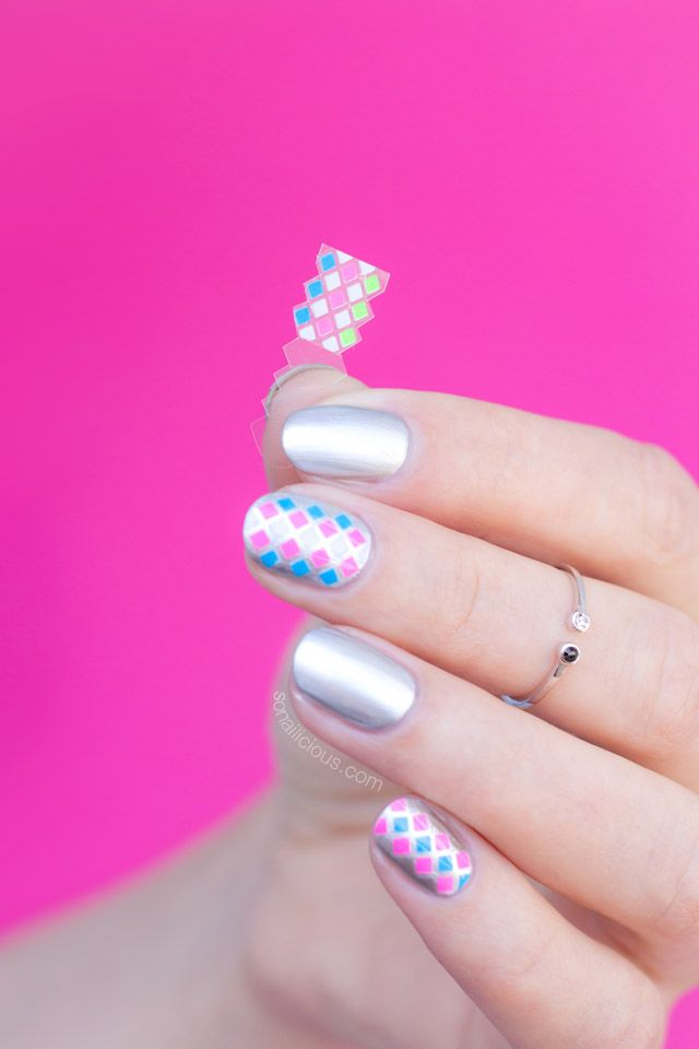 Simple Silver Nail Art For Short Nails – Day 1 | SoNailicious ...