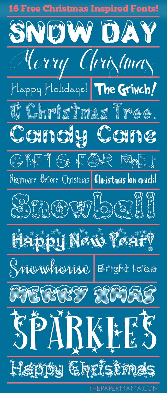 Day 25: 16 Free Christmas Inspired Fonts | The Paper Mama | Bloglovin\'