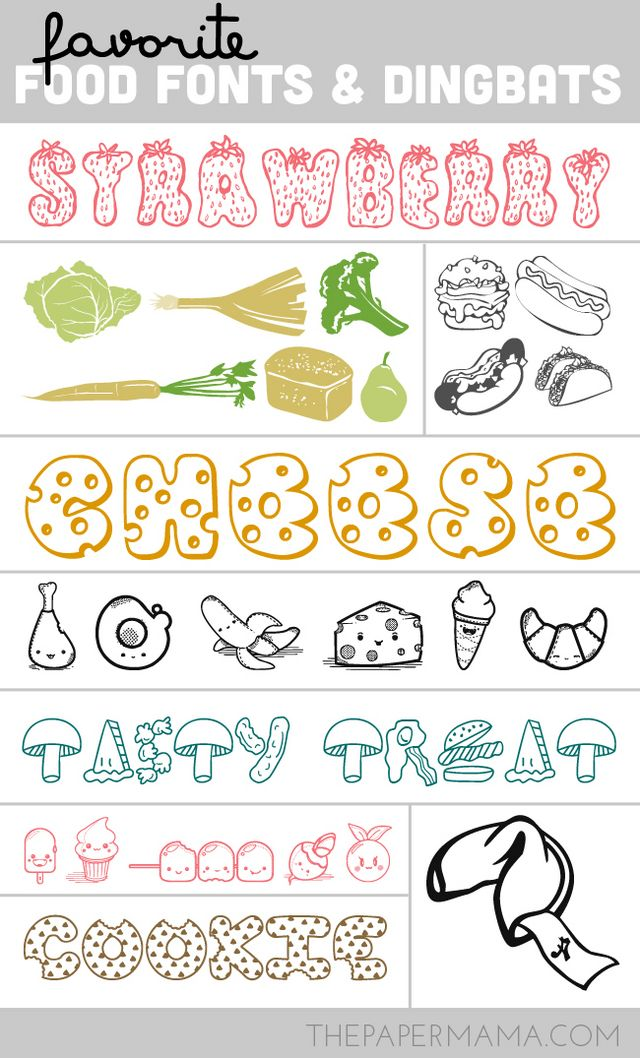 My favorite food fonts and dingbats the paper mama for Cuisine font