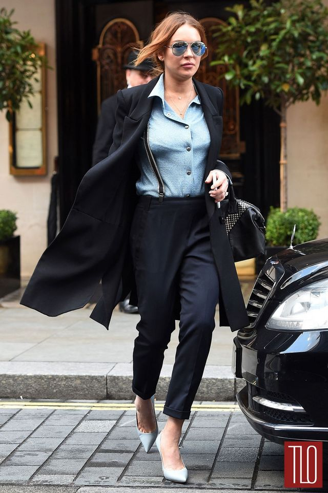 """27f6e97d3aa4 """"Speed The Plow"""" star Lindsay Lohan was spotted having lunch at Scott's  Restaurant in London wearing a Miu Miu top paired with a Saint Laurent  coat, Prada ..."""
