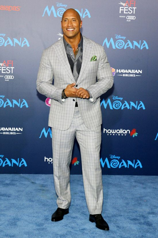 """6a0c093ff6ccf Sexiest Man Alive"""" Dwayne Johnson Fills Out a Suit at the """"Moana ..."""