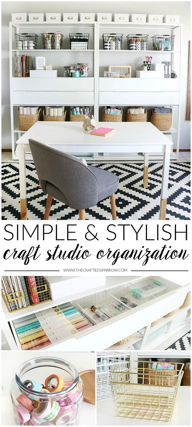 Simple & Stylish Craft Studio Organization | The Crafted Sparrow ...