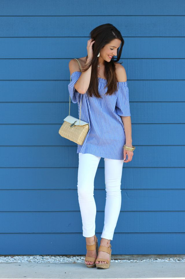 Bright Summer Look: Striped Off the Shoulder Top with a Fresh ...