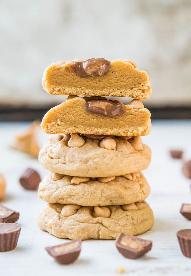 Soft and Chewy Triple Peanut Butter Cookies | Averie Cooks ...
