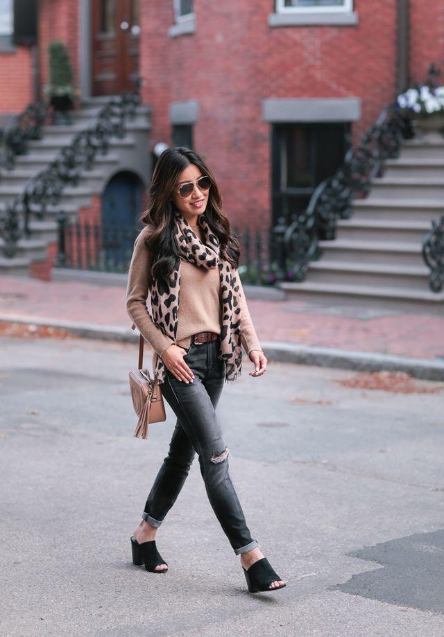 d774e3ce1750 Camel cashmere + leopard print scarf | Extra Petite | Bloglovin'