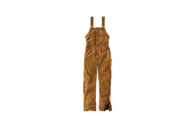 "280ffcd8 Above: From Carhartt, a pair of women's Weathered Duck Wildwood Bib  Overalls has a nylon quilted lining and ""adjustable leg openings that make  it easy to ..."