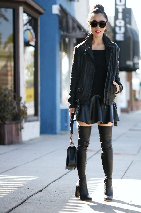 a223f38b2716 Black Leather Jacket and Over-the-Knee-Boots