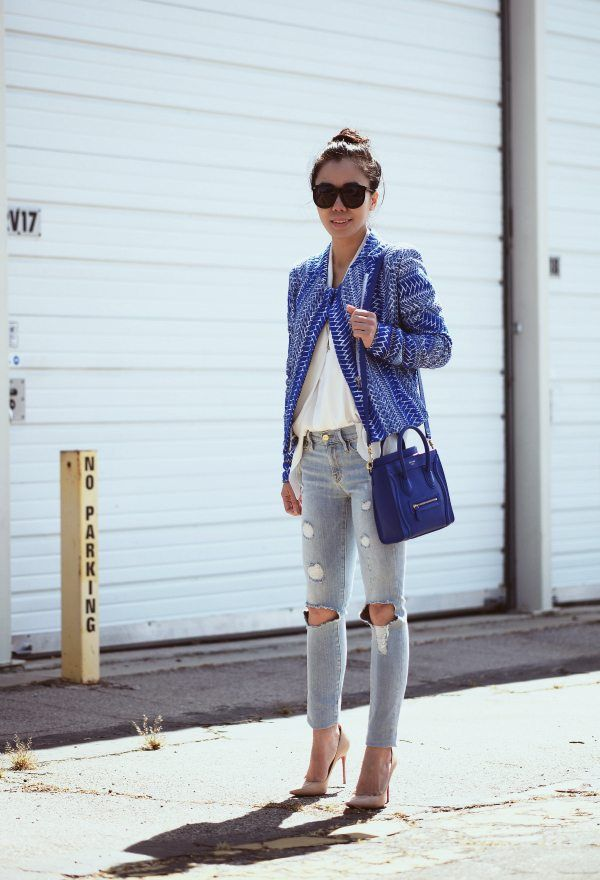60870c08cf6e Blue Tweed Jacket and Ripped Jeans