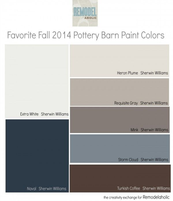 2014 Interior Paint Colors: Favorites From The Fall Pottery Barn Paint Collection