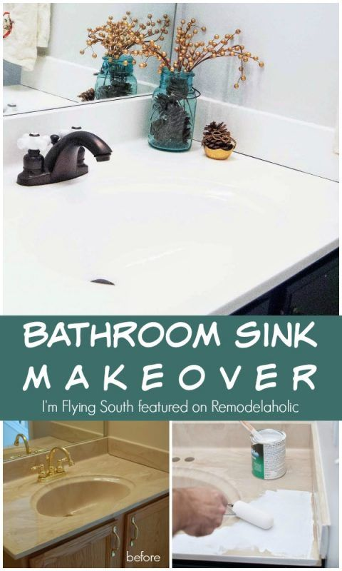 Painted Bathroom Sink and Countertop Makeover | Remodelaholic ...