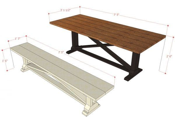 Rustic X Dining Table And Bench Building Plan Remodelaholic