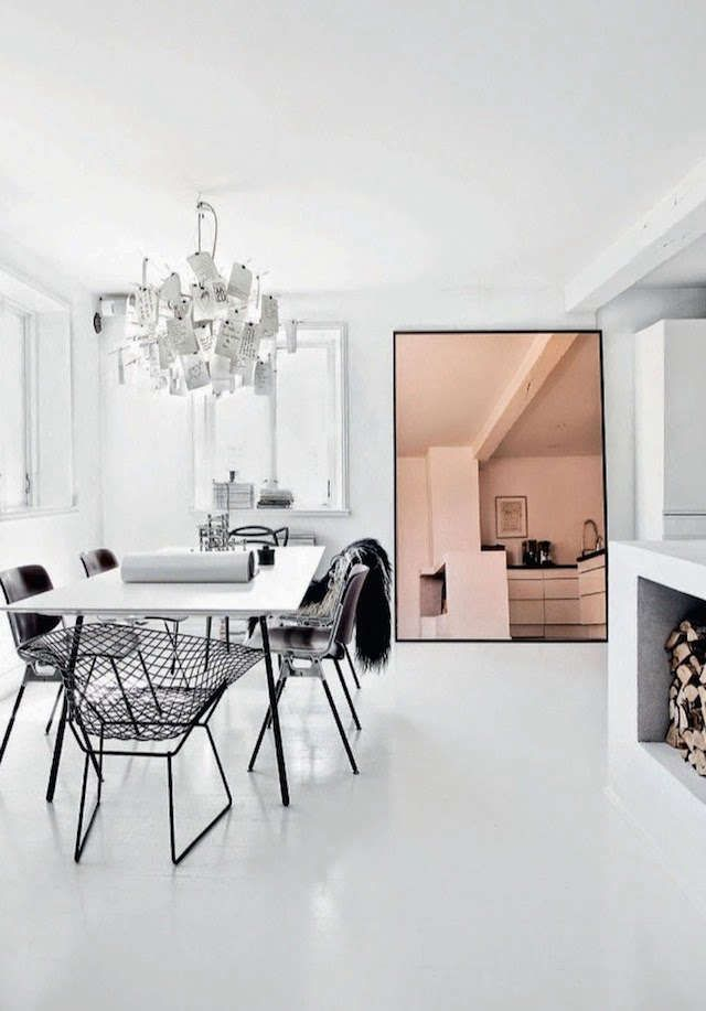 Above Swedish Interior Stylist Jenny Hjalmarson Boldsen S Black And White Dining Room Features An Outsized Pink Hued Mirror Photograph Via Nordic Design